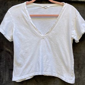 LNA V-Neck Crop T-Shirt White